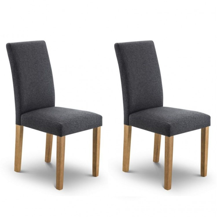 Julian Bowen Hastings Slate Grey Fabric Dining Chair Pair