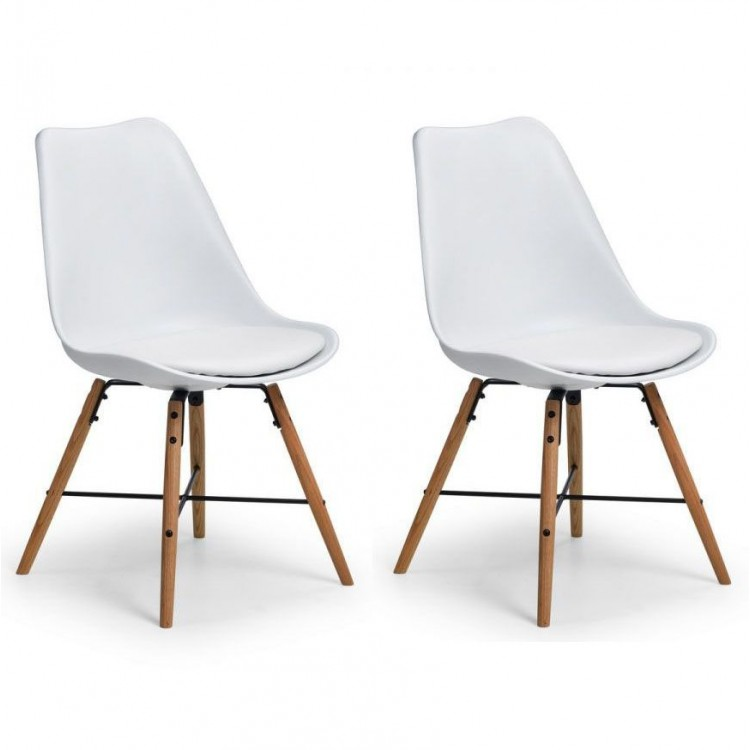 Julian Bowen Kari White Faux Leather Dining Chair Pair