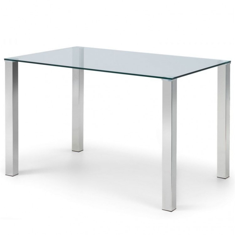 Julian Bowen Metal and Glass Enzo 120cm Compact Dining Table