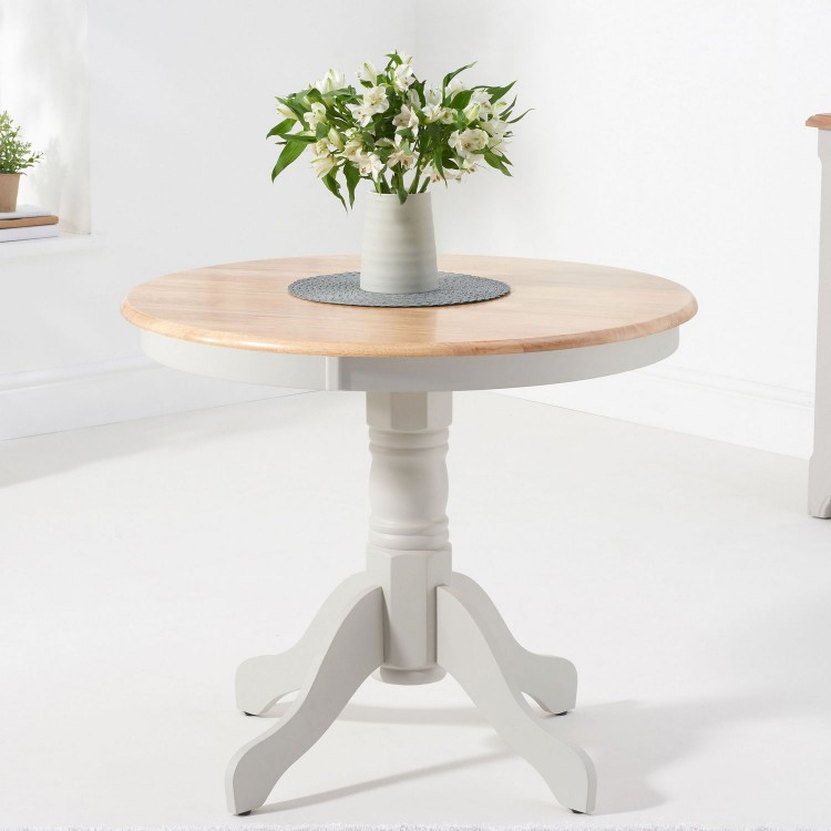 Mark Harris Elstree Furniture Grey 90cm Oak Round Dining Table