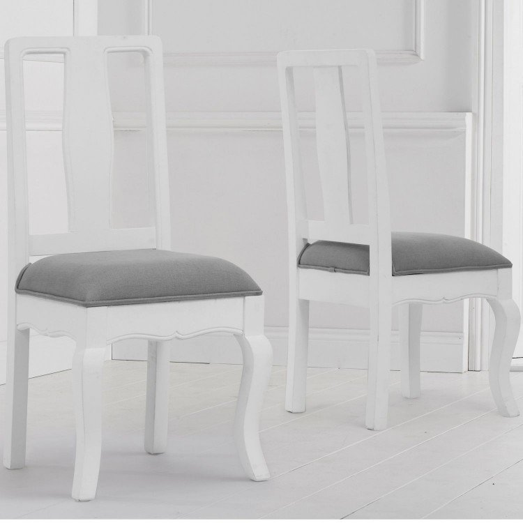Mark Harris Sienna Furniture White Dining Chair Pair