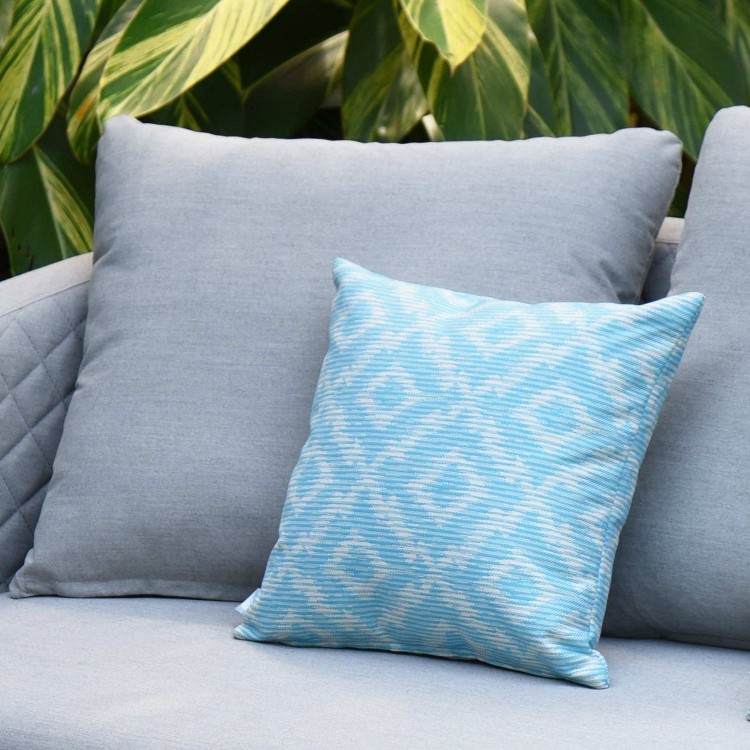 Maze Lounge Outdoor Fabric Scatter Cushion in Santorini Aqua Blue Pair