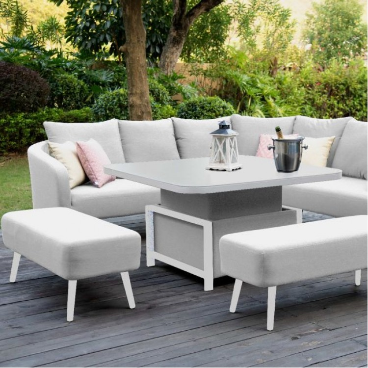 Maze Lounge Outdoor Fabric Ambition Lead Chine Square Corner Dining Set with Rising Table - PRE ORDER
