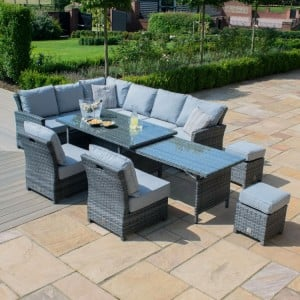 Maze Rattan Garden Furniture Kingston Grey Extending Corner Dining Set