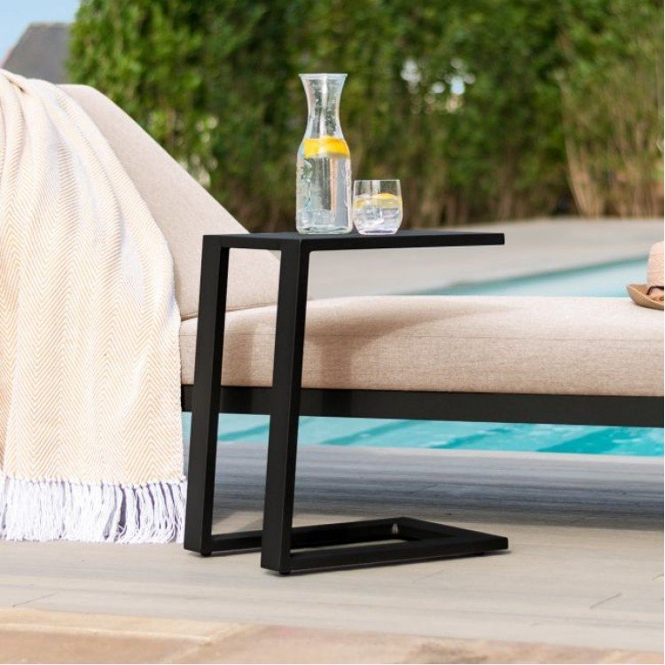 Maze Lounge Outdoor Fabric Aluminium Black Side Table - PRE ORDER