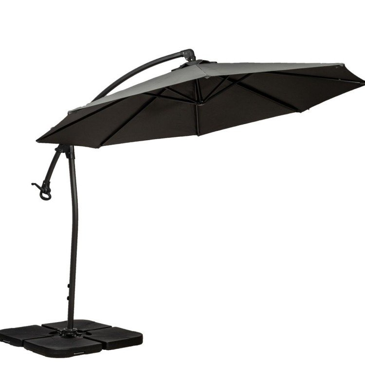Royalcraft Garden Grey 3m Deluxe Pedal Operated Rotational Cantilever Parasol