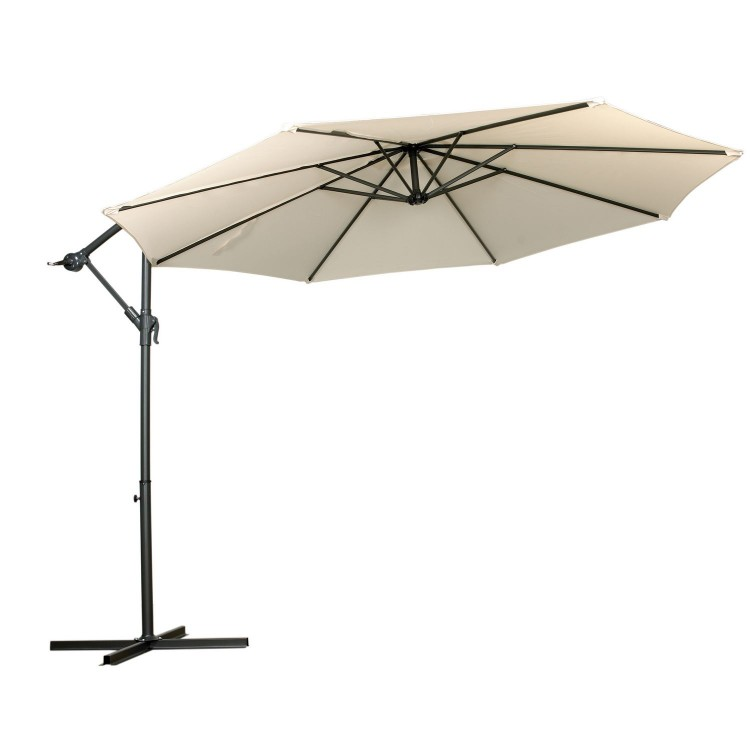 Royalcraft Garden Ivory 3m Overhanging Metal Cantilever Parasol with Crank and Tilt
