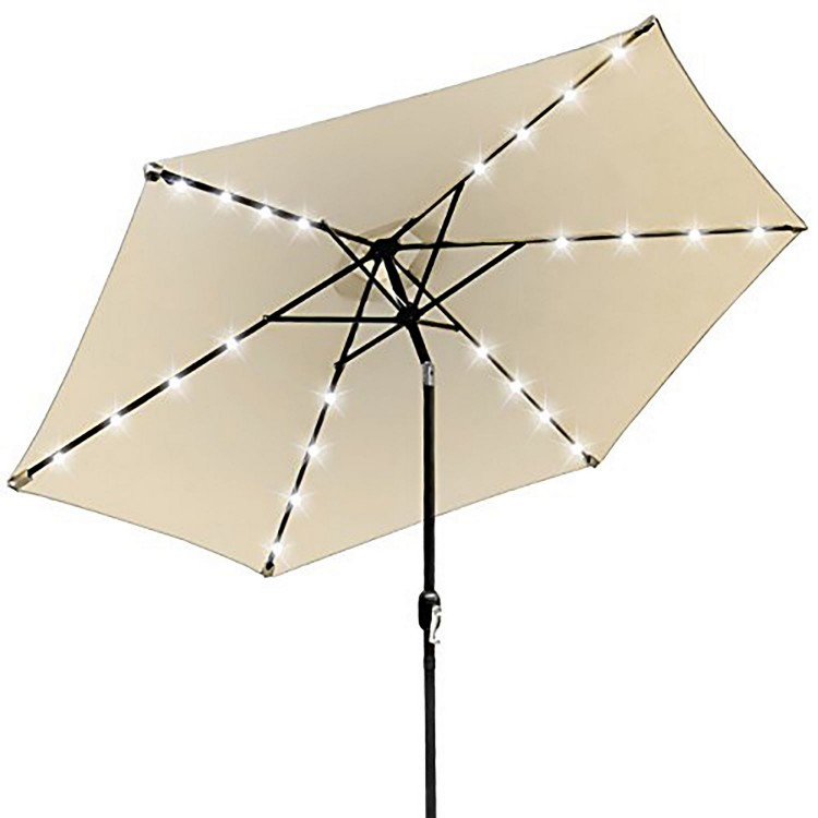 Royalcraft Garden Ivory 2.7m Crank and Tilt LED Strip Parasol