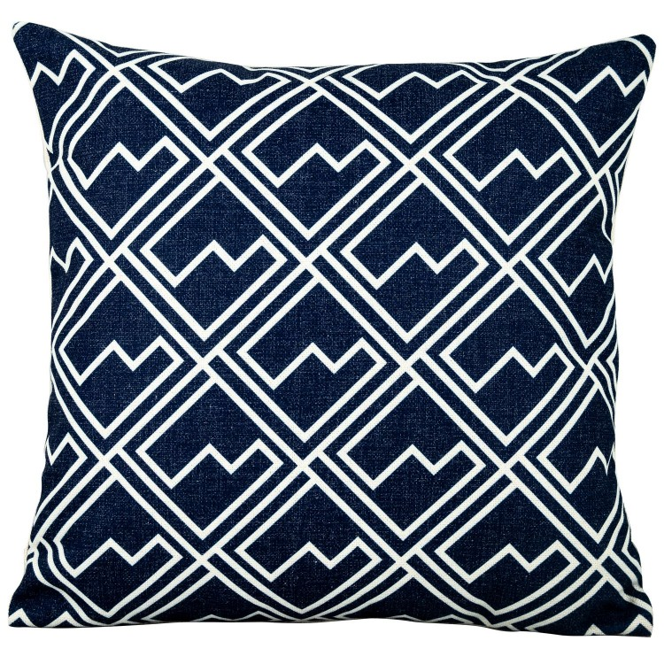 Royalcraft Garden White Square Pattern on Blue Scatter Cushion Set of 4