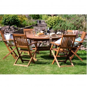 Royalcraft Garden Turnbury Wooden 6 Seater Extending Table Dining Set