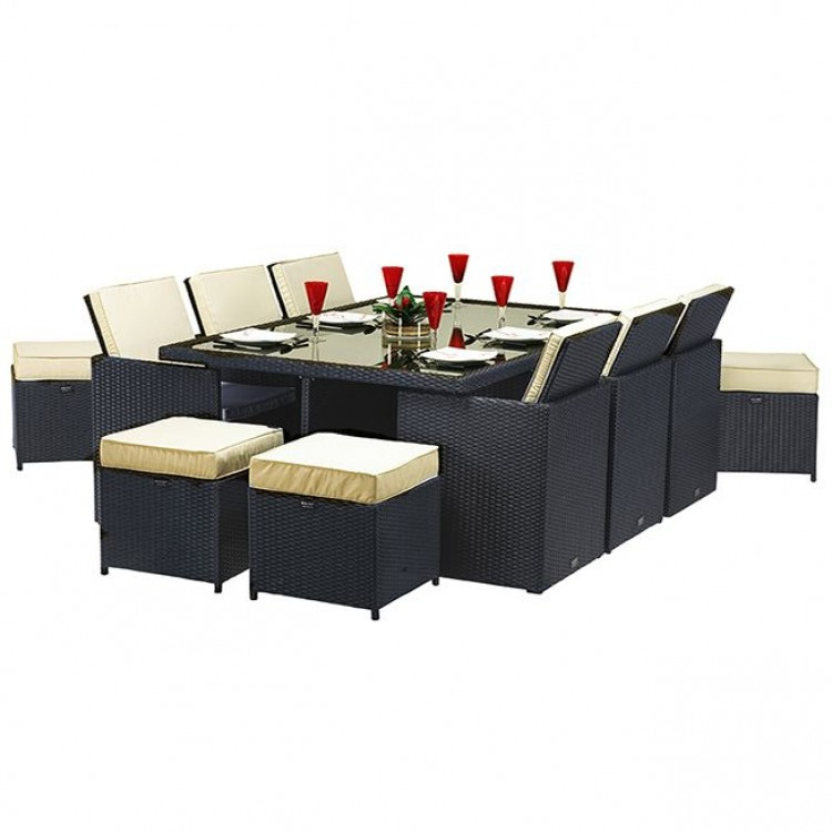 Royalcraft Garden Cannes Black 10 Seat Cube Dining Set