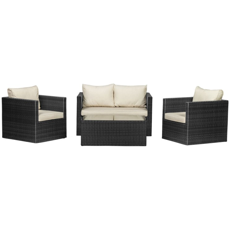 Royalcraft Garden Furniture Cannes Ebony Black 4 Seat Sofa Set