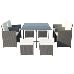Royalcraft Garden Furniture Cannes Grey 8 Seater Cube Set