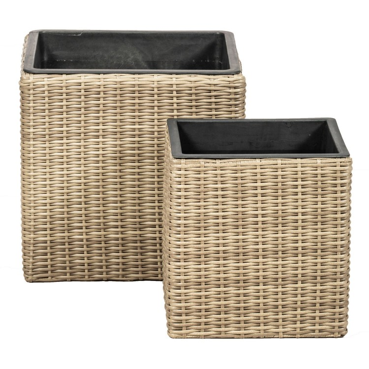Royalcraft Garden Furniture Genoa Set of 2 Rattan Weave Square Planters