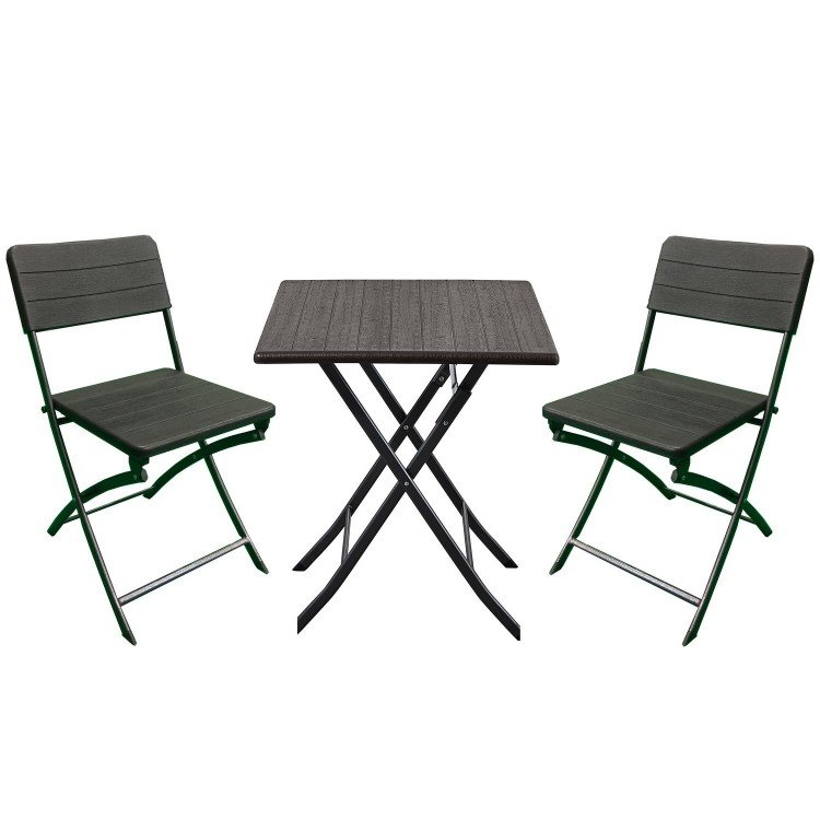 Royalcraft Metal Garden Furniture Carini Wood Effect Bistro 2 Seater Set