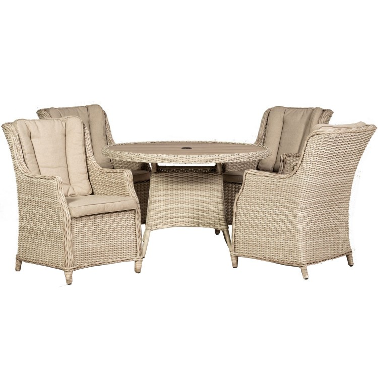 Royalcraft Garden Seychelles 4 Seater Round Highback Comfort Dining Set with Polywood Table Top