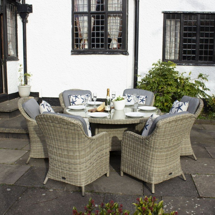 Royalcraft Garden Furniture Wentworth Rattan 6 Seater Round Imperial Dining Set