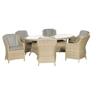 Royalcraft Garden Furniture Wentworth Rattan 6 Seat Oval Imperial Dining Set