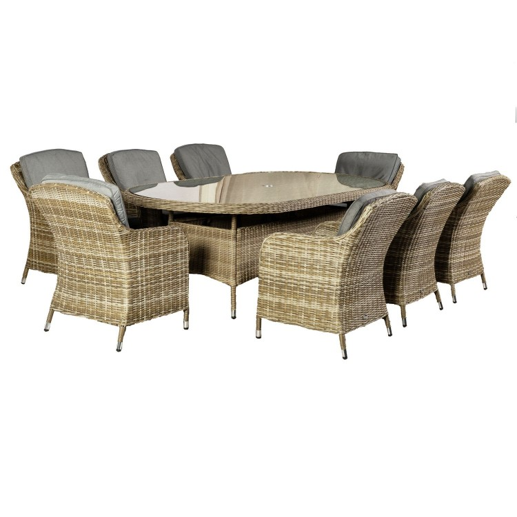 Royalcraft Garden Furniture Wentworth Rattan 8 Seat Oval Imperial Dining Set