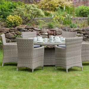 Royalcraft Garden Furniture Wentworth Rattan 6 Seat Oval Carver Dining Set