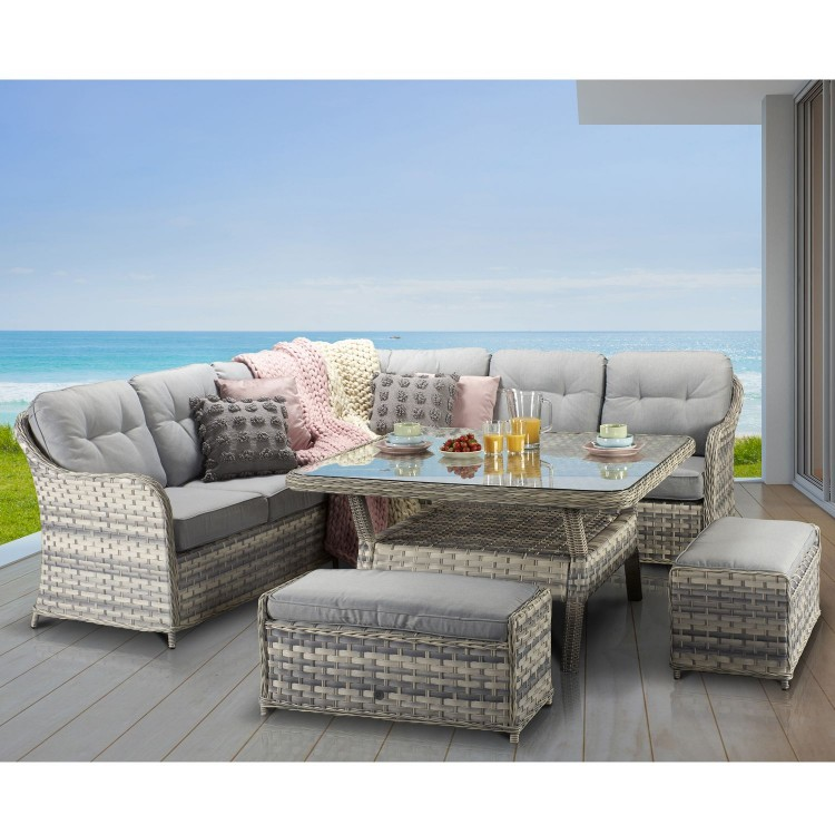 Signature Weave Garden Furniture Constance Silver Grey Large Corner Dining Set