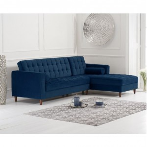 Mark Harris Anneliese Furniture Blue Velvet Right Facing Chaise Sofa