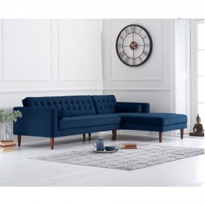 Idriana Furniture Blue Velvet Right Facing Chaise Sofa