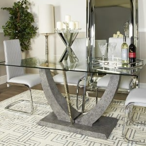 Kipp Glass Furniture Dining Set with 4 Grey Dining Chairs