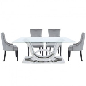 Quintrell Glass Furniture Dining Table with 6 Grey Chairs