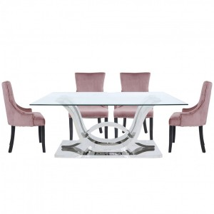 Quintrell Glass Furniture Dining Table with 6 Pink Chairs