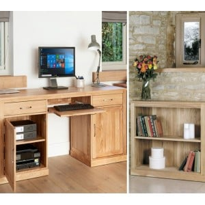 Mobel Oak Large Hidden Computer Desk & Low Wide Bookcase