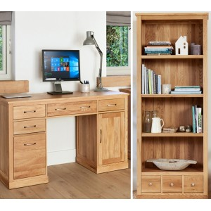 Mobel Oak Twin Pedestal Desk & Large 3 Drawer Bookcase