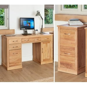 Mobel Oak Twin Pedestal Desk & Small Filing Cabinet