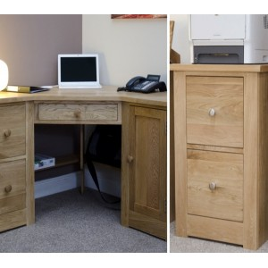 Torino Oak Furniture Corner Desk & Filing Cabinet Package