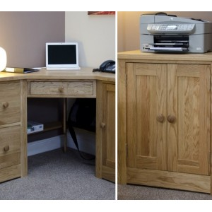Torino Oak Furniture Corner Desk & Printer Cupboard Package