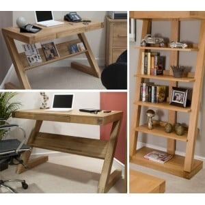 Z Solid Oak Furniture Computer Desk & Large Bookcase Set - PRE-ORDER