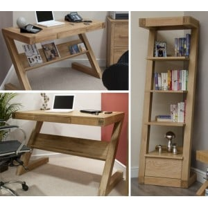 Z Solid Oak Furniture Computer Desk & Narrow Bookcase Set - PRE-ORDER