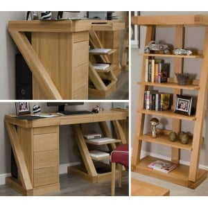 Z Solid Oak Furniture Large Computer Desk & Large Bookcase Set - PRE-ORDER