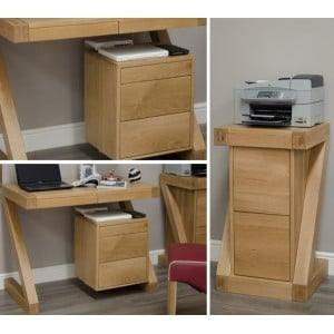 Z Solid Oak Furniture Small Computer Desk & Filing Cabinet Set - PRE-ORDER