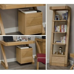 Z Solid Oak Furniture Small Computer Desk & Narrow Bookcase Set - PRE-ORDER