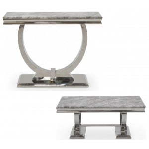 Vida Living Arianna Grey Marble and Chrome Coffee & Console Table Set