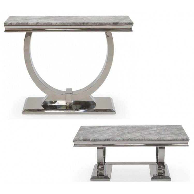 Vida Living Arianna Grey Marble and Chrome Coffee & Console Table Set - PRE ORDER