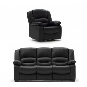 Vida Living Furniture Barletto Black Leather 3 Seater Fixed Sofa and Recliner Armchair