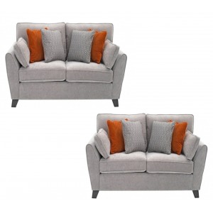 Vida Living Furniture Cantrell Silver Fabric 2 Seater Sofa Set