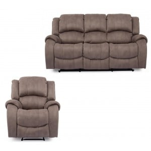 Vida Living Darwin Smoke 3 Seater Recliner Sofa & Armchair Set