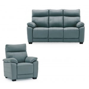 Vida Living Furniture Positano Blue Leather Fixed 3 Seater Sofa and Armchair Set