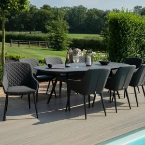 Maze Lounge Outdoor Fabric Zest Charcoal 8 Seat Oval Dining Set