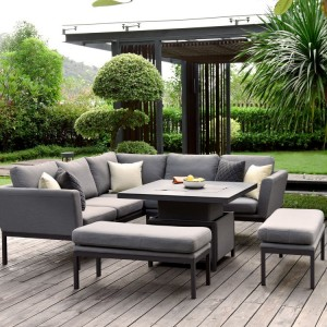 Maze Lounge Outdoor Fabric Pulse Square Flanelle Corner Dining Set with Rising Table