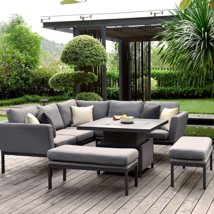 Maze Lounge Outdoor Fabric Pulse Square Flanelle Corner Dining Set with Rising Table - PRE ORDER