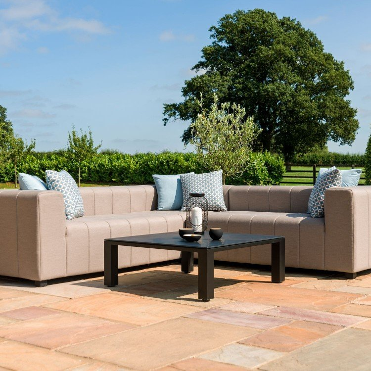 Maze Lounge Outdoor Fabric Nexus Corner Group in Taupe - PRE ORDER